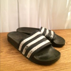 Adidas black and white sandals size 7